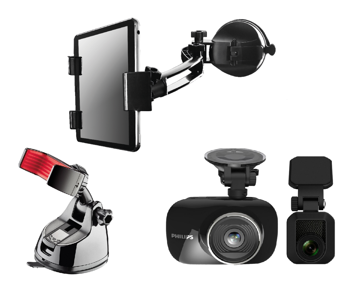 Nissan tech pack including philips ADR820 dash cam with rear camera, phone holder and tablet holder.