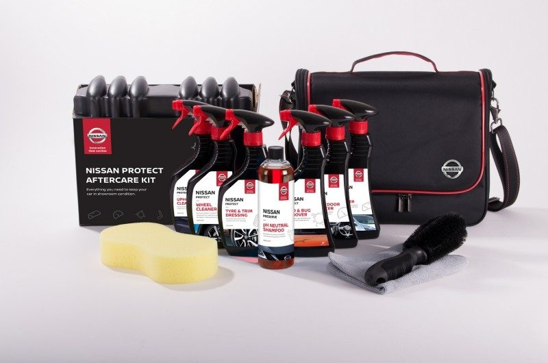 Nissan protect aftercare kit including wheel cleaner, tyre & trim dressing, PH neutral shampoo, bug remover, sponge and brush for a nissan vehicle