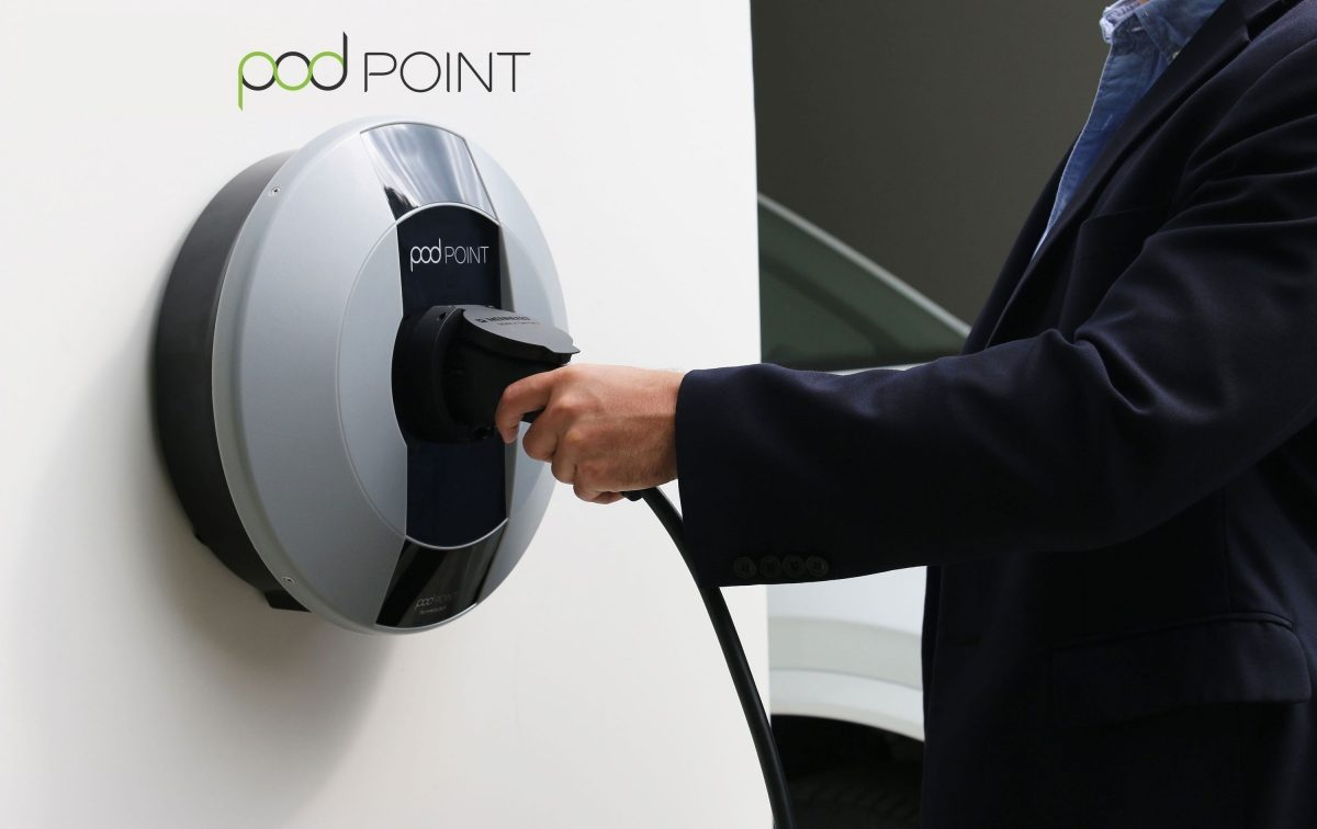 Podpoint Home Charger mounted on wall