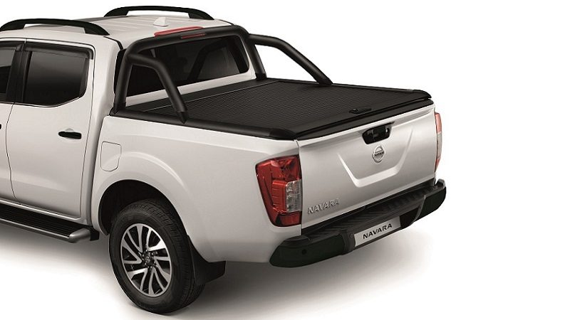 White nissan navara with black roll cover & bed styling bar pack