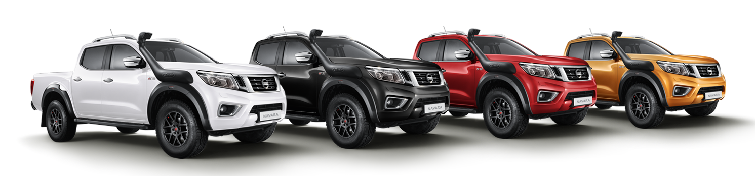 New Nissan Navara off-roader 3/4 front view in 4 different colours white black red and savannah yellow