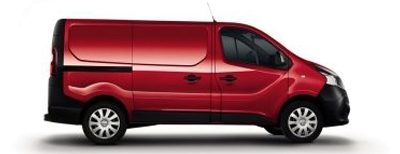Side on packshot of a red nissan NV300 acenta