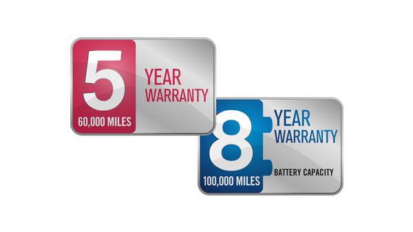 New Nissan e-NV200 COMBI 5 year and 8 year warranty logos