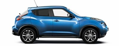 Side packshot of a blue Nissan Juke Bose Personal Edition