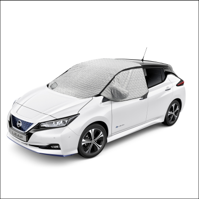 Nissan Leaf with thermal climate cover across top.