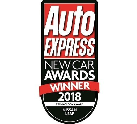 "Badge reading ""Auto Express New Car Awards Winner 2018"" for the nissan Leaf"