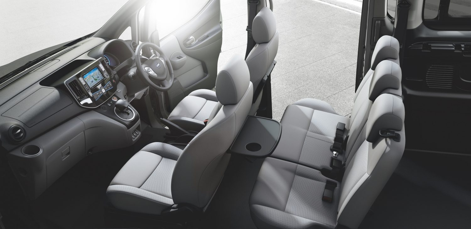 New Nissan e-NV200 Evalia interior view focus on console and steering wheel