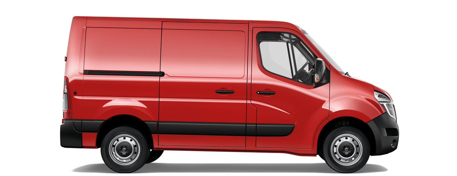 Side on packshot of a red nissan nv400
