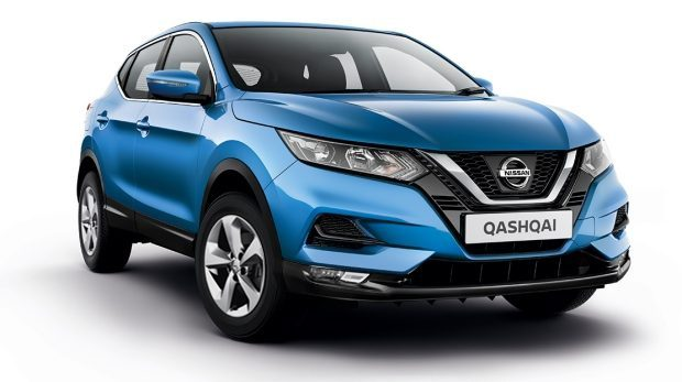 3/4 front packshot of a blue nissan qashqai acenta premium against a white background