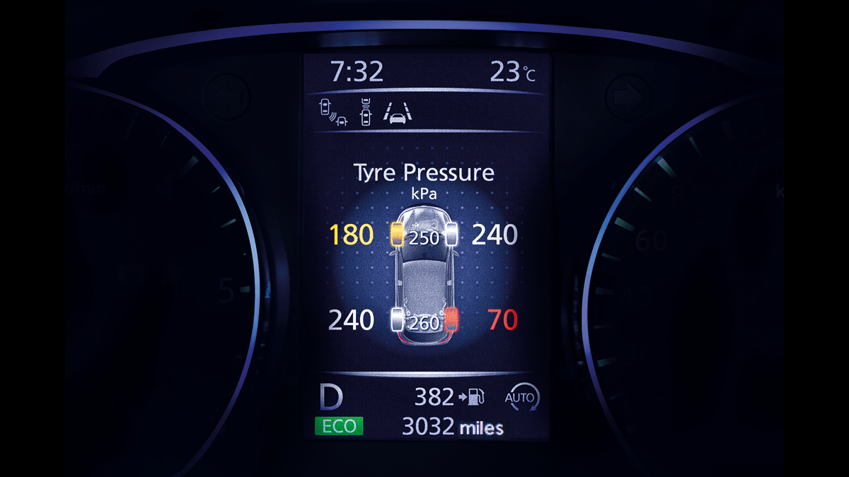 Small SUV features - Display tyre pressure | Nissan Qashqai
