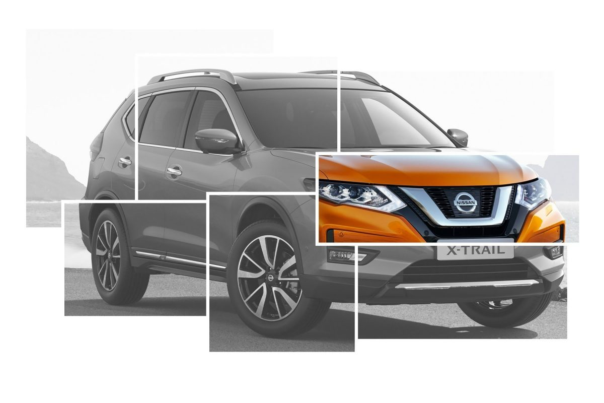 X-Trail Exterior Design collage focus on V-Grille