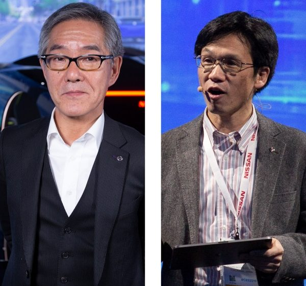 Nissan Vice President Kazuhiro Doi and Tetsuro Ueda of the Nissan Research Center speaking at CES in Las Vegas Nevada