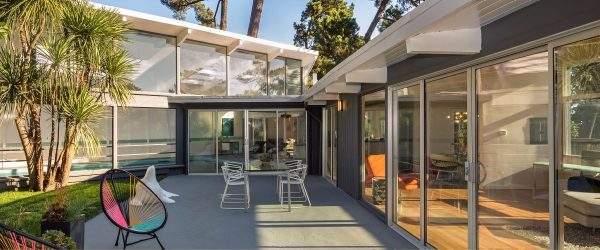 Mid-century modern home with patio