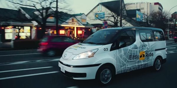 Nissan Easy Ride robo-taxi in neighborhood