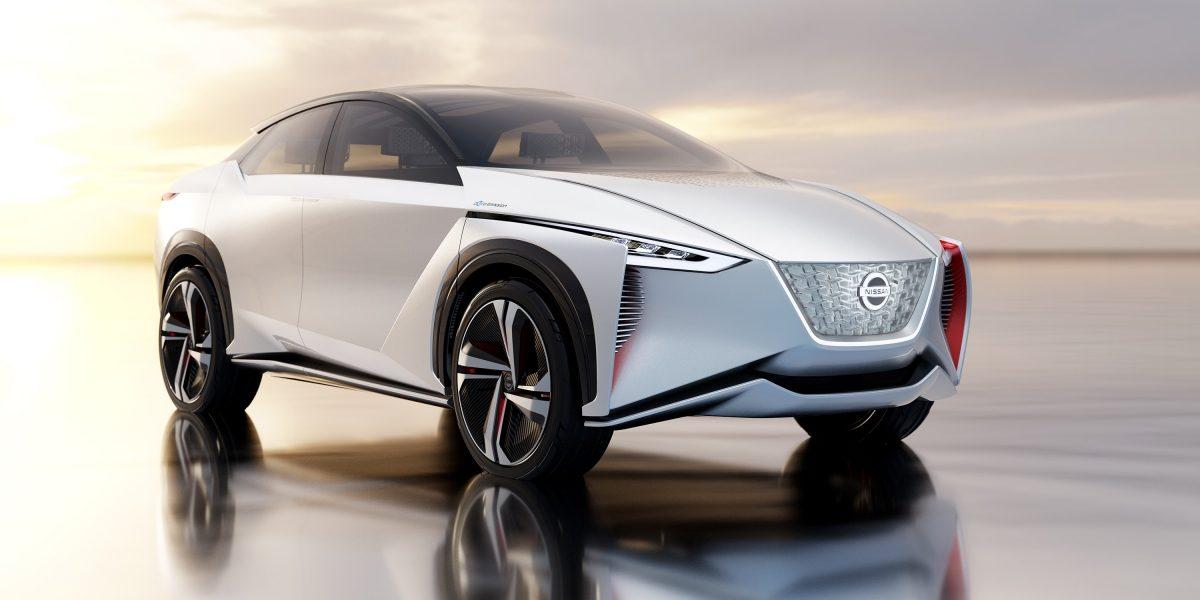 Nissan IMx concept car 3/4 exterior front in desert