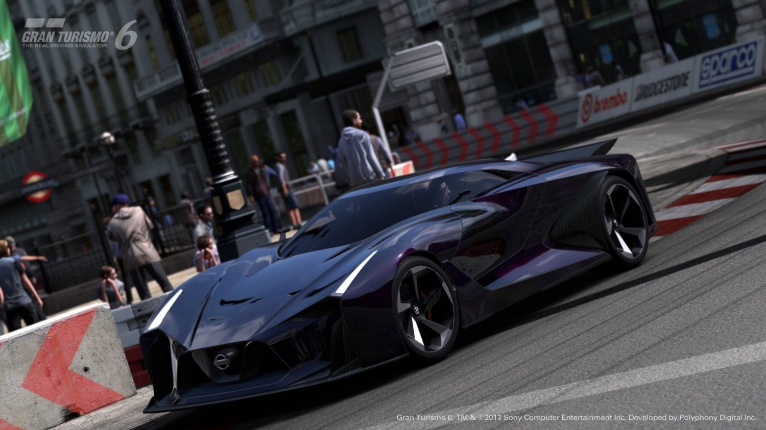 Nissan Concept 2020 Vision Gran Turismo low 3/4 city street.