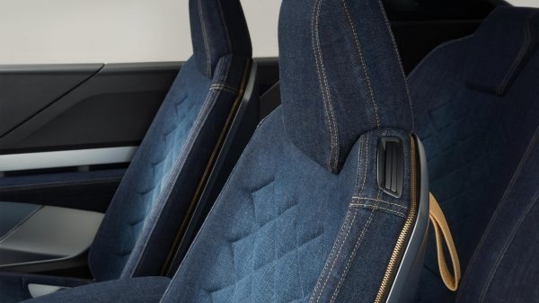 Nissan IDX Freeflow Concept denim upholstery headrest detail