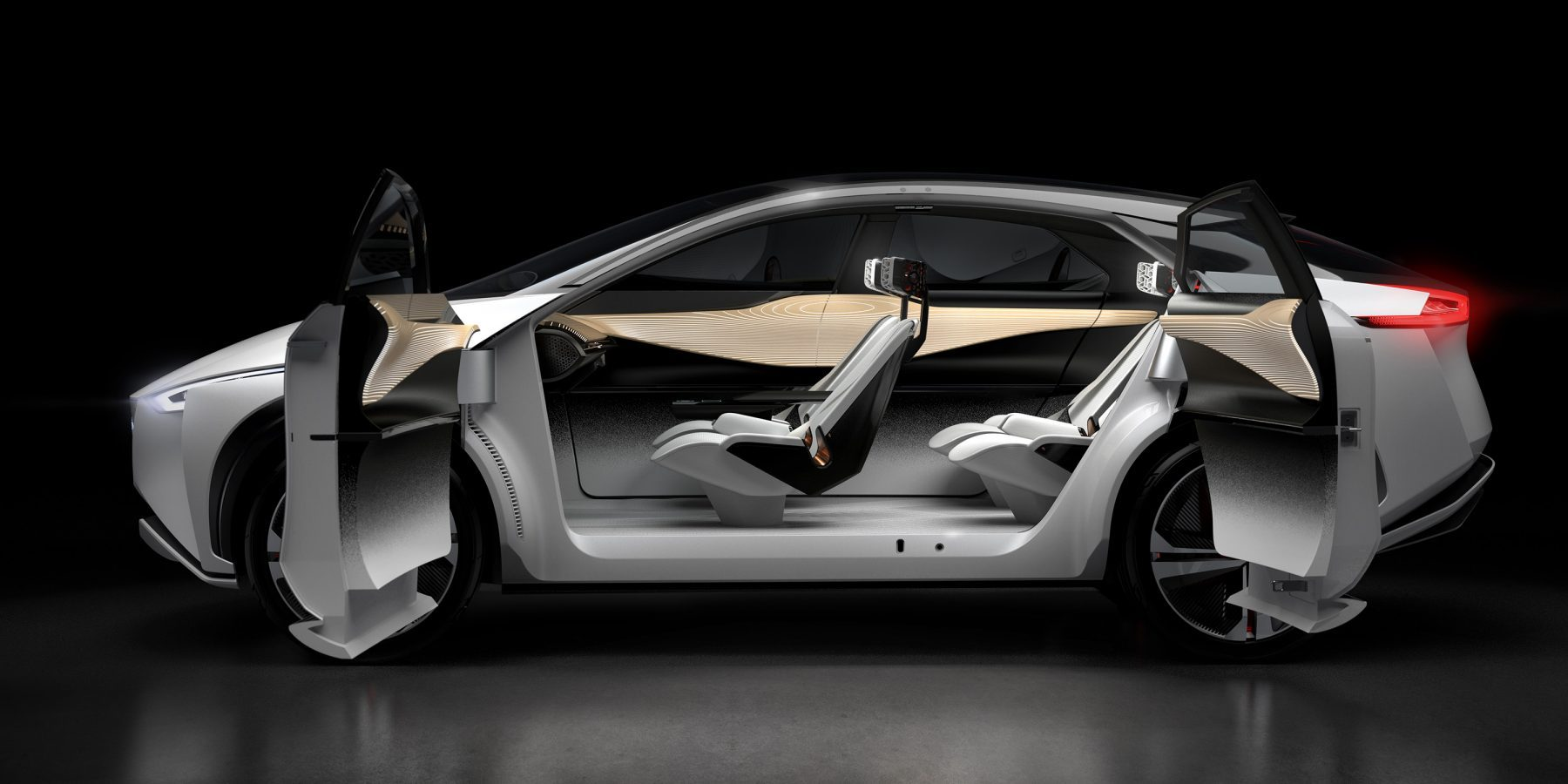 Nissan IMx concept car exterior profile with doors open