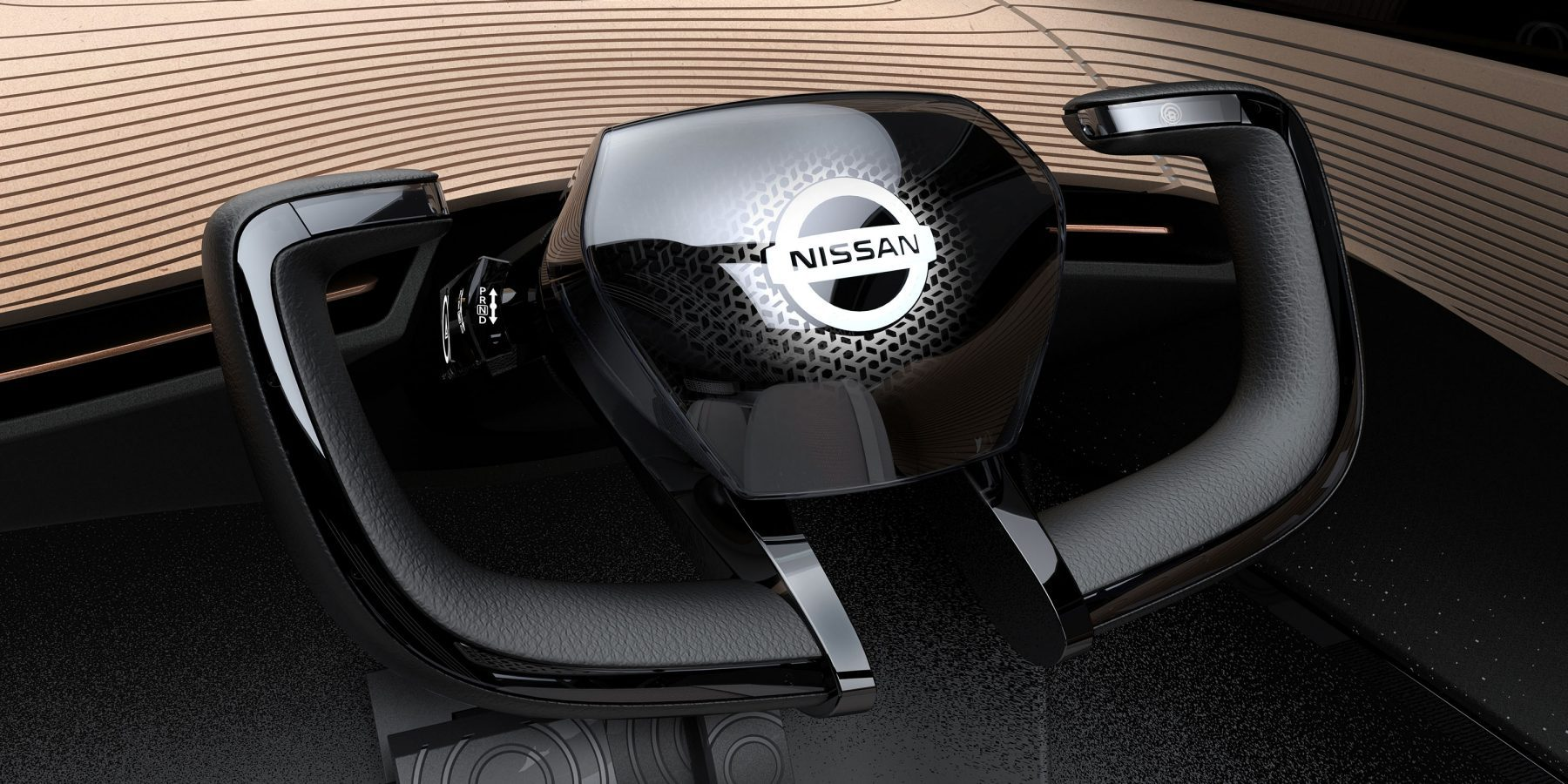 Nissan IMx concept car interior steering wheel detail