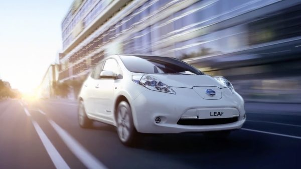 Nissan Leaf on the road