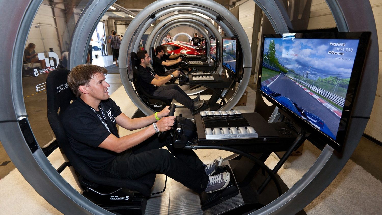 Nissan GT Academy Driver in simulator.
