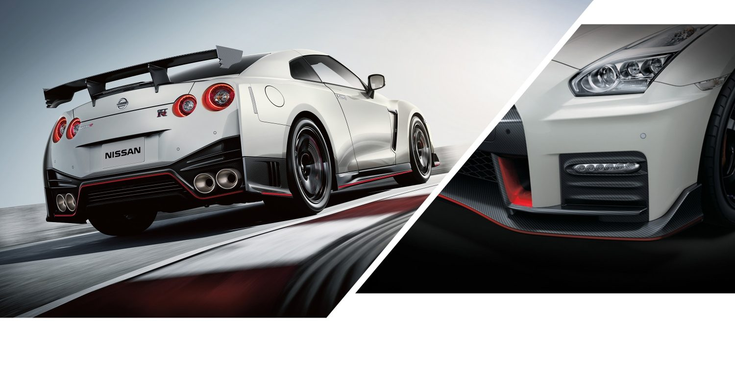 GT-R NISMO on track and close up of front headlight