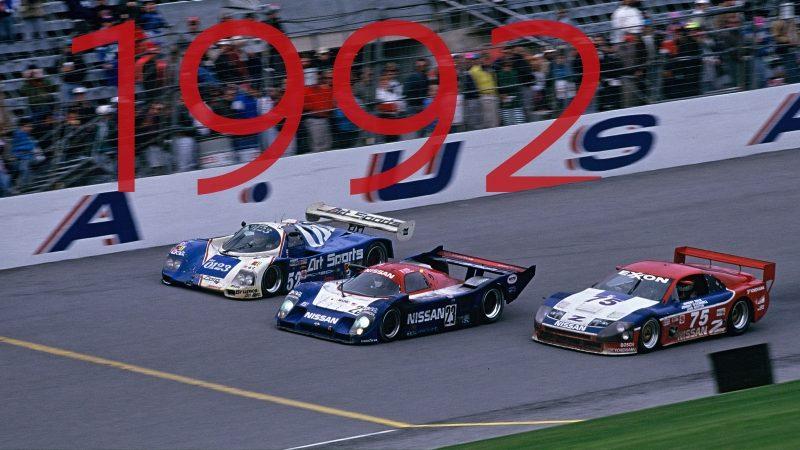 Der NISSAN?R91CP gewinnt 1992 das 24-Stunden-Rennen von Daytona