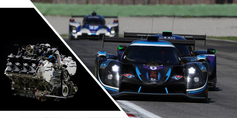 Geteiltes Bild mit V8 NISMO Rennmotor und Ligier JS P3 NISSAN Rennwagen