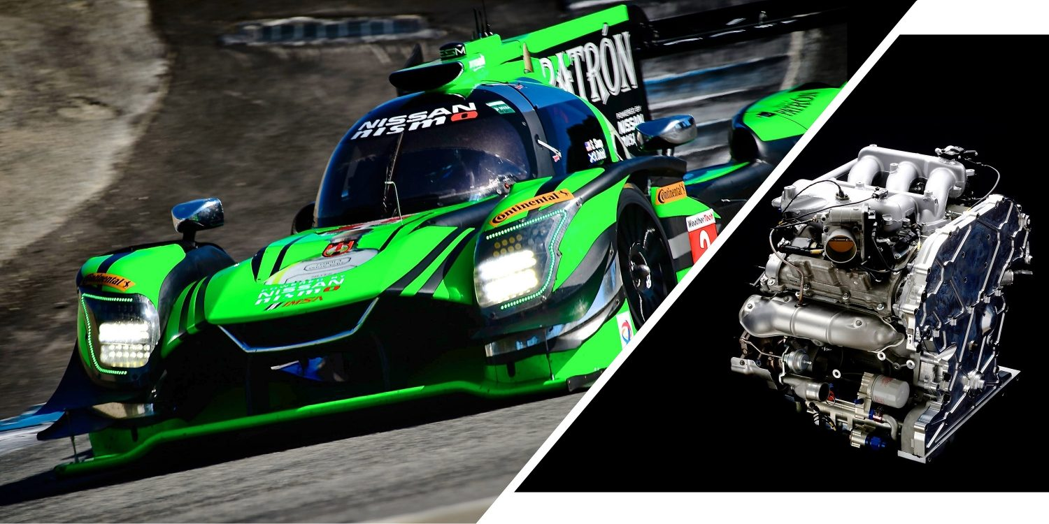Split image with Nissan DPi race car at Laguna Seca and GT-R based racing engine