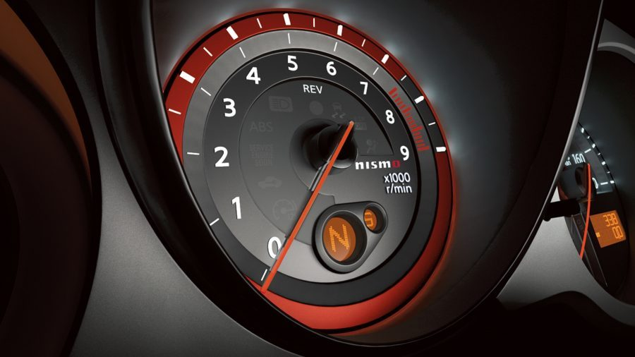 Nissan 370Z Nismo illuminated red tachometer