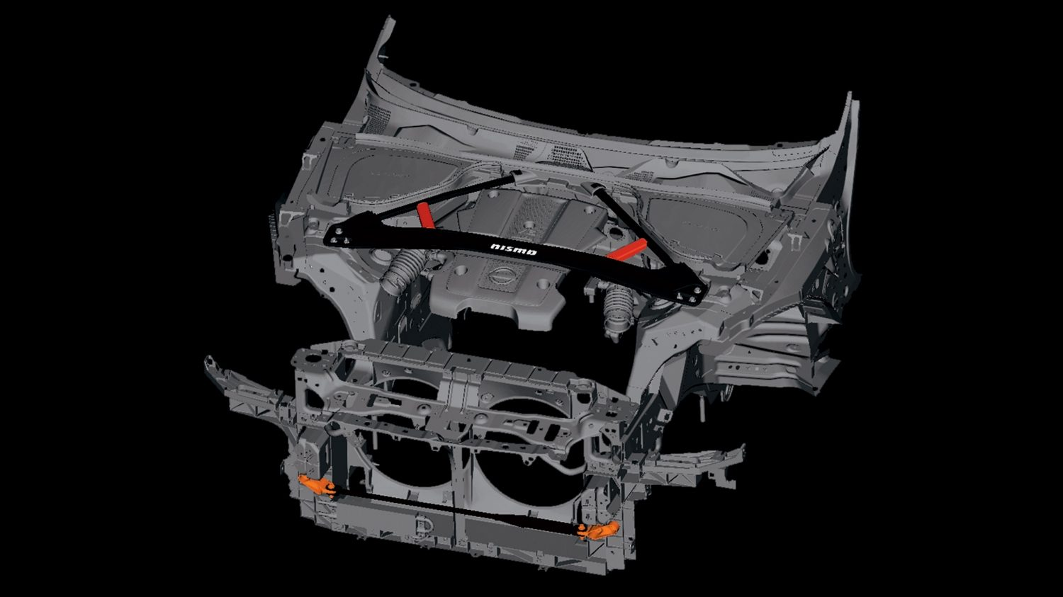 Nissan 370Z Nismo chassis with body dampers