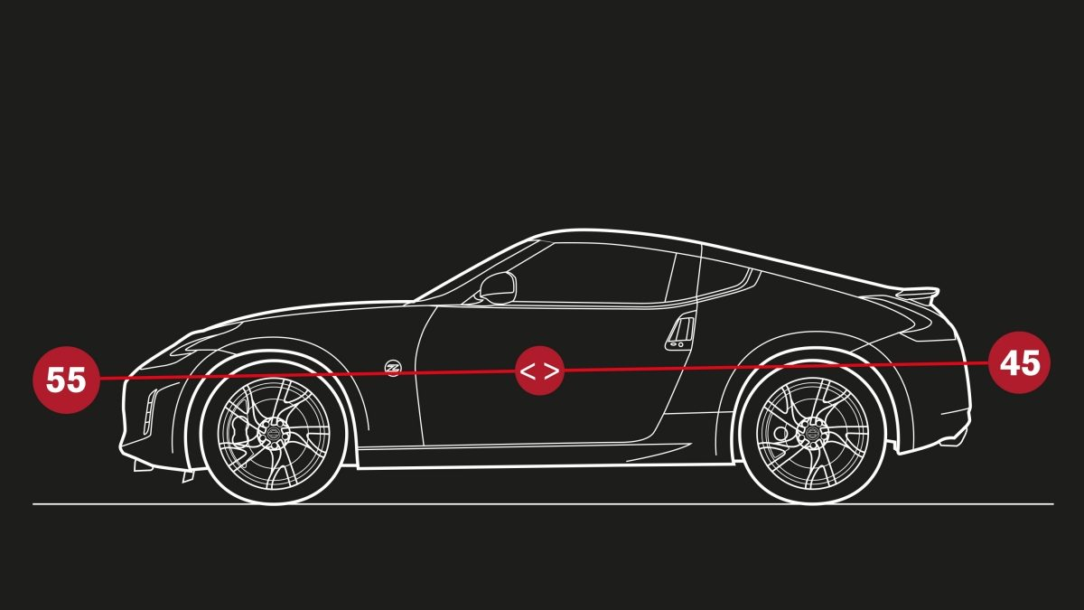 Nissan 370Z Coupe – Illustration av viktfördelning