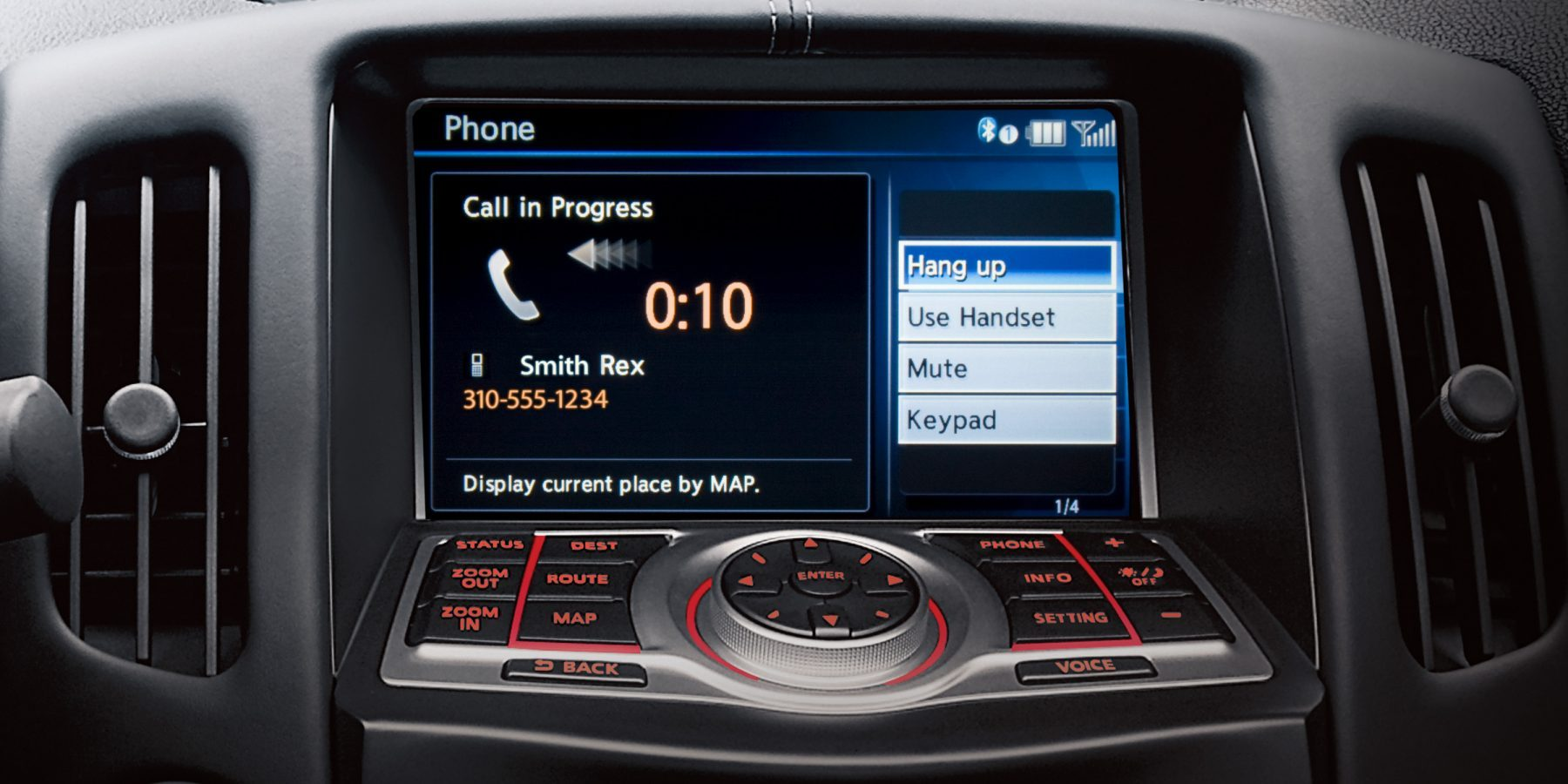 Nissan 370Z Roadster Bluetooth Hands-free Phone System Display