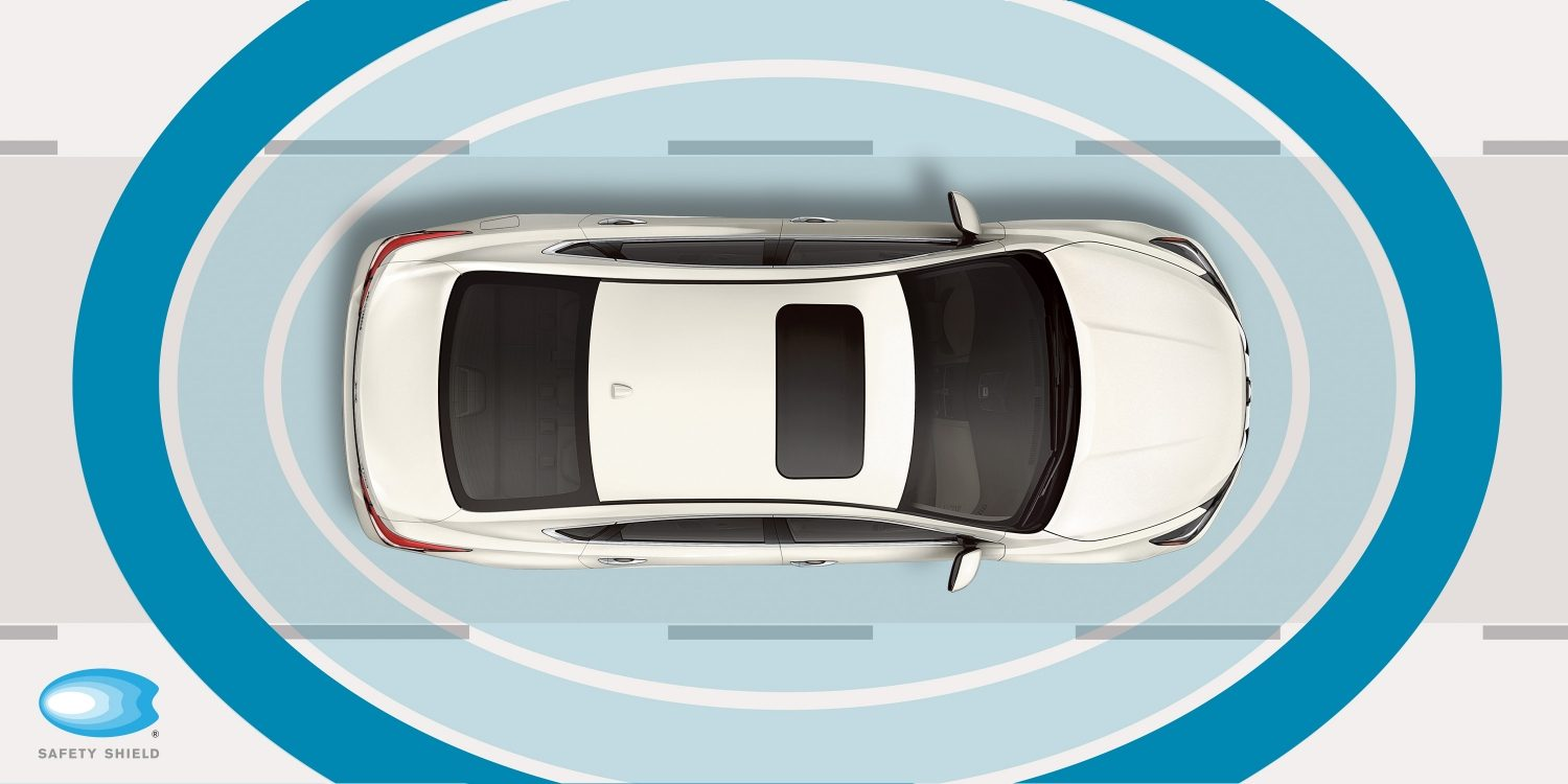 Nissan Altima Safety Shield graphic with rings around vehicle