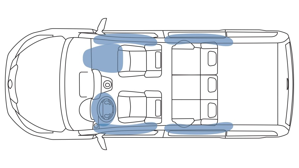 Nissan e-NV200 - Overhead air bag illustration