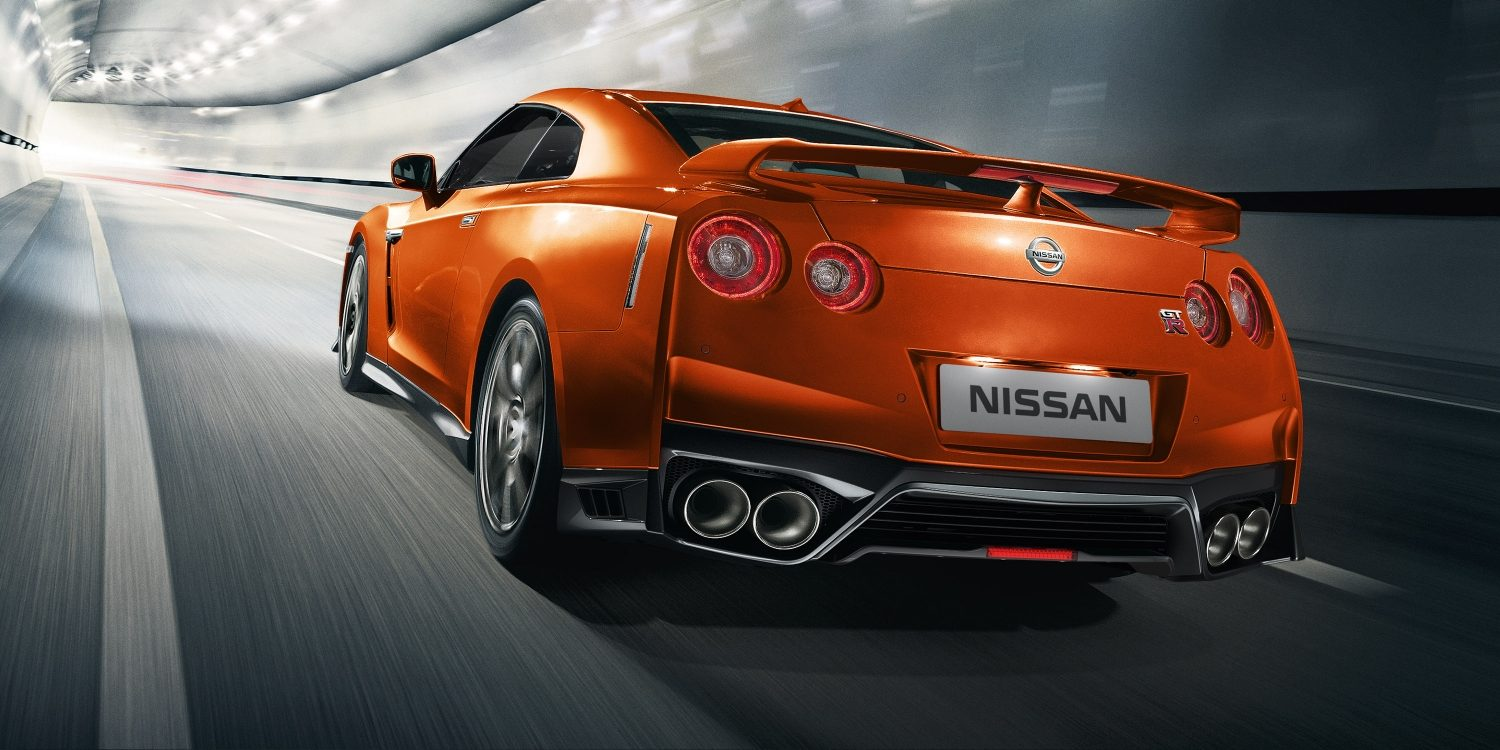Nissan GT-R high-speed in tunnel