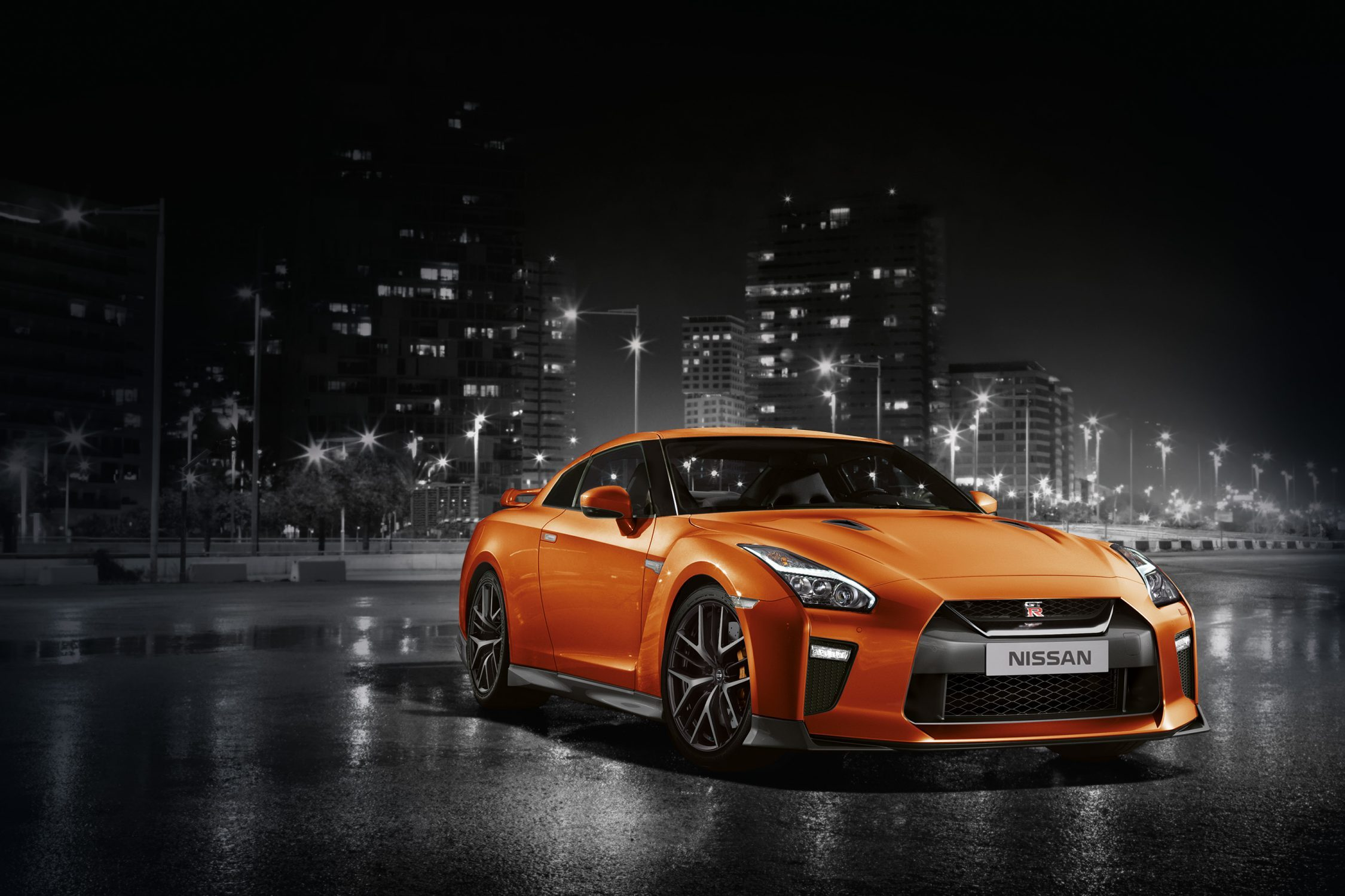 GTR car in city at night