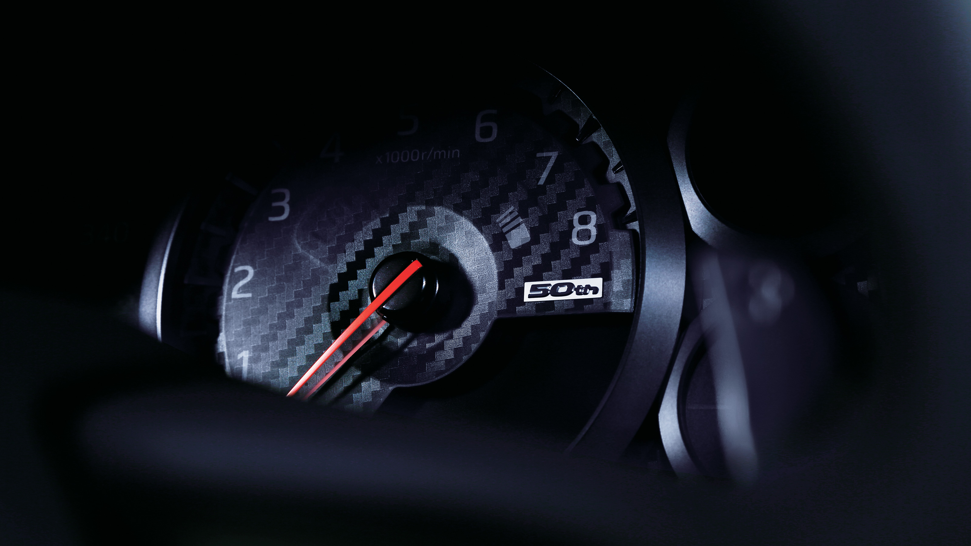Nissan GT-R 50th Anniversary logo in gauge cluster