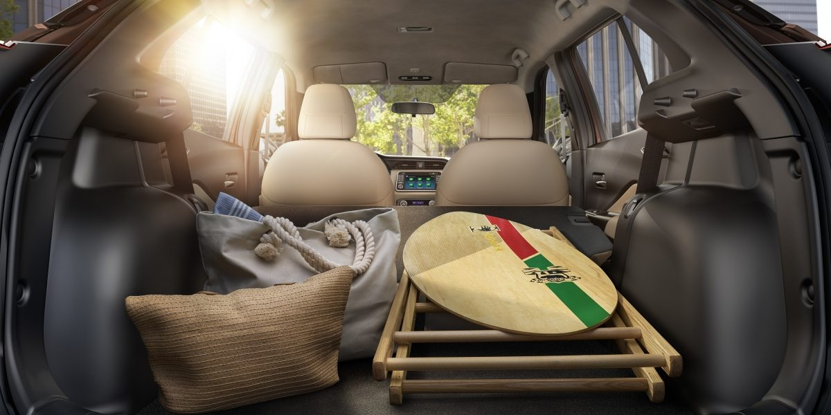 Nissan Kicks rear cargo area with beach equipment