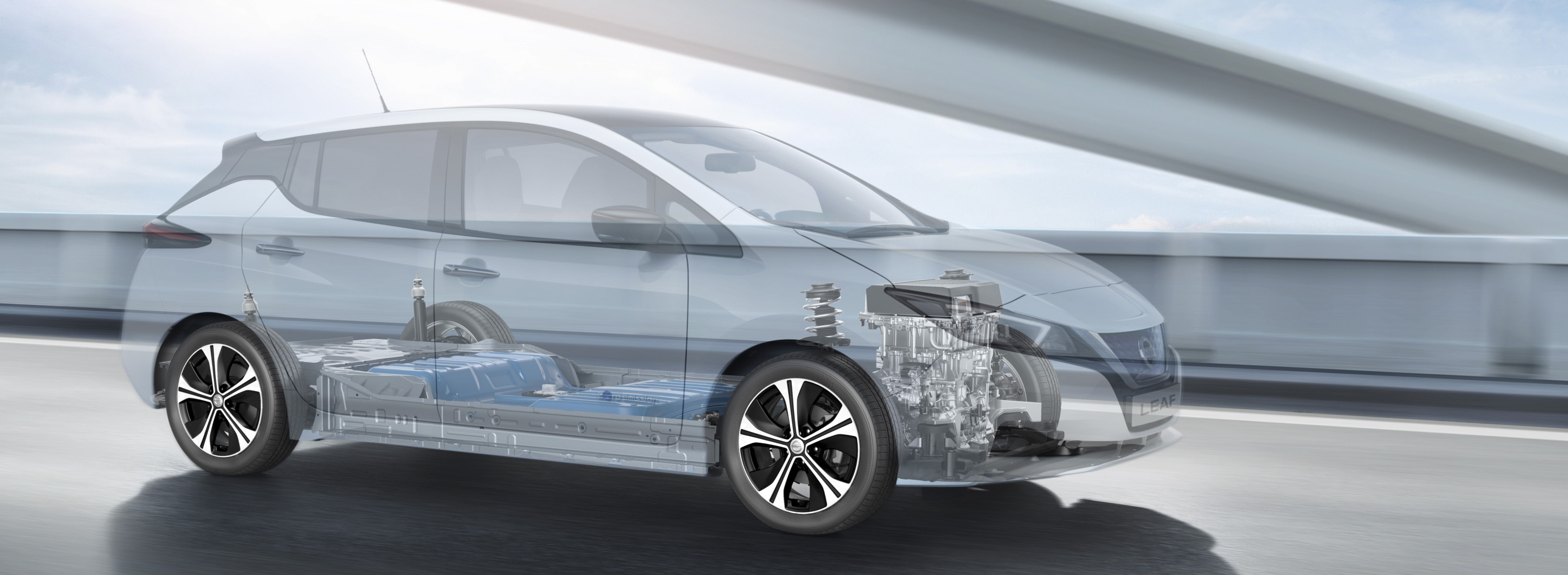 Nissan LEAF x-ray view showing battery and motor
