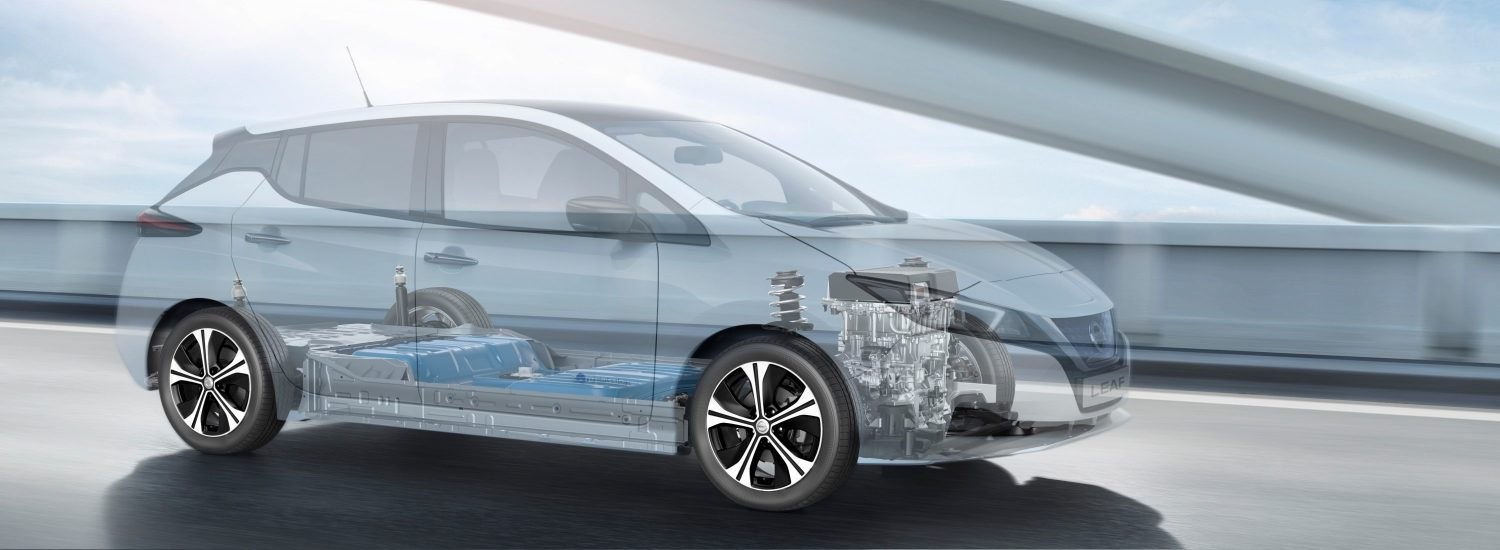 New Nissan LEAF with ghost effect showing the battery and engine