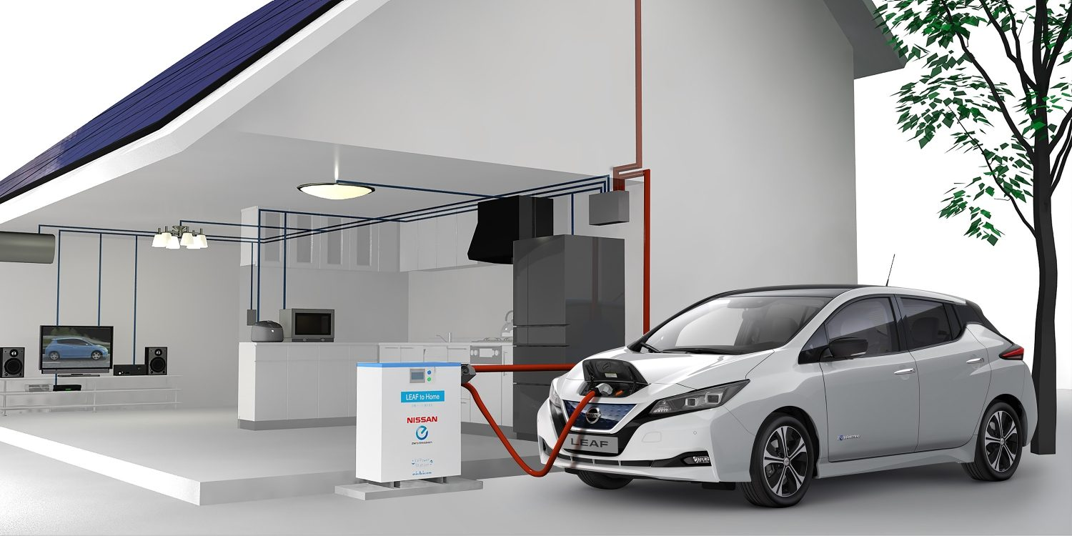 New Nissan LEAF plugged into a vehicle to home system