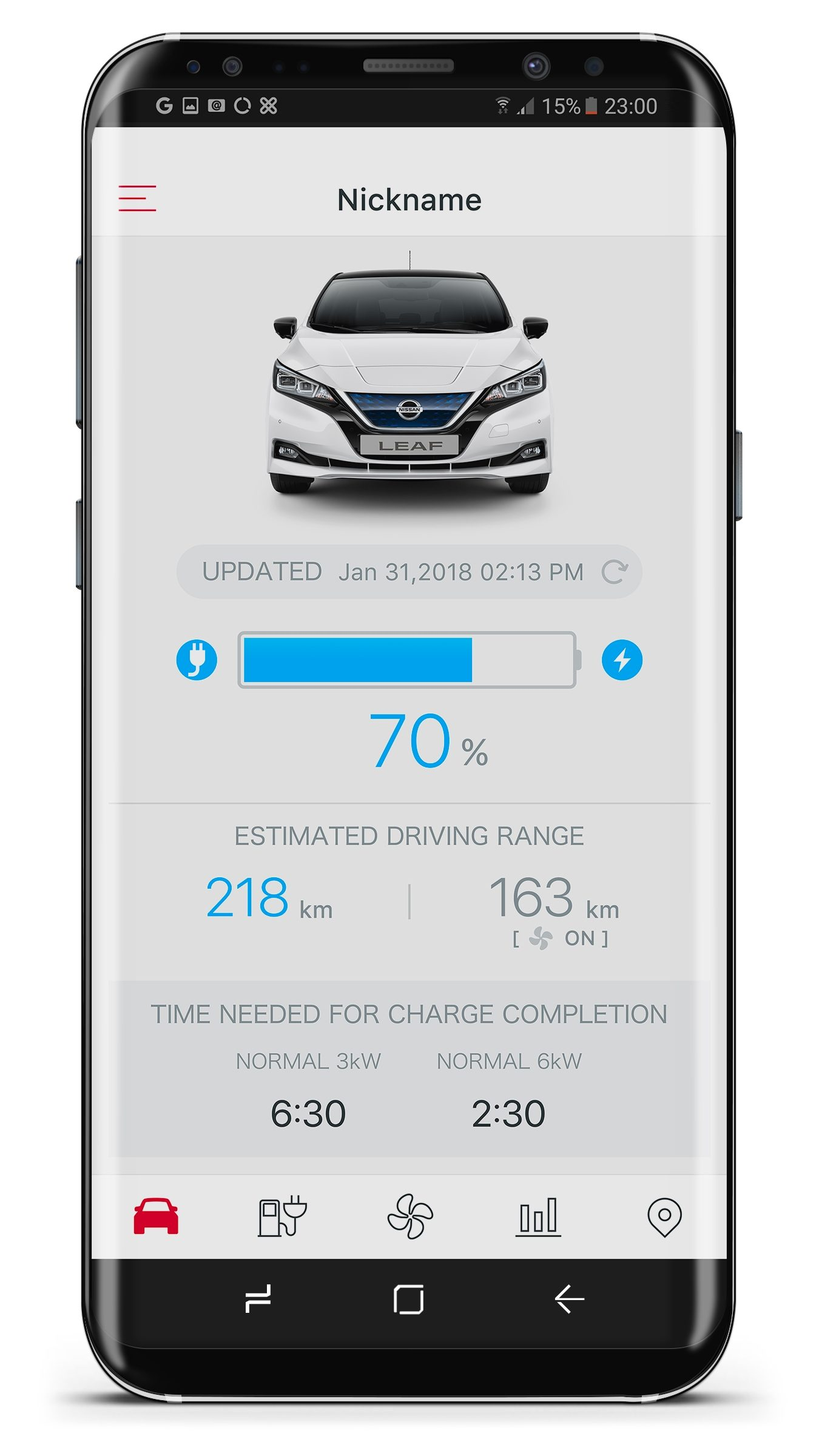 New Nissan LEAF NissanConnect EV app estimated driving range screen