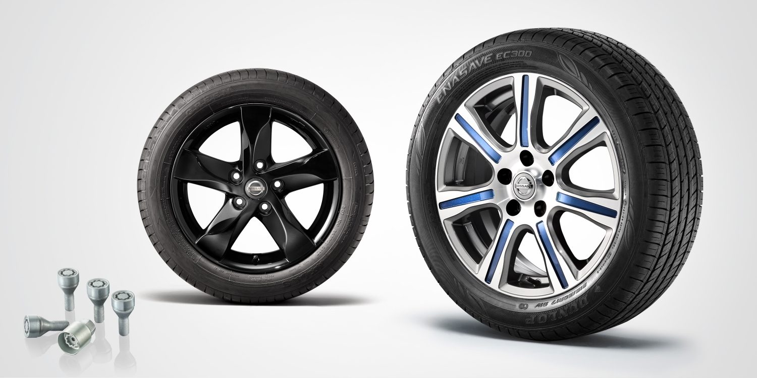 "Nissan LEAF composition with lockable wheel nuts, 16"" alloy wheel electron and 17"" alloy wheel bold"