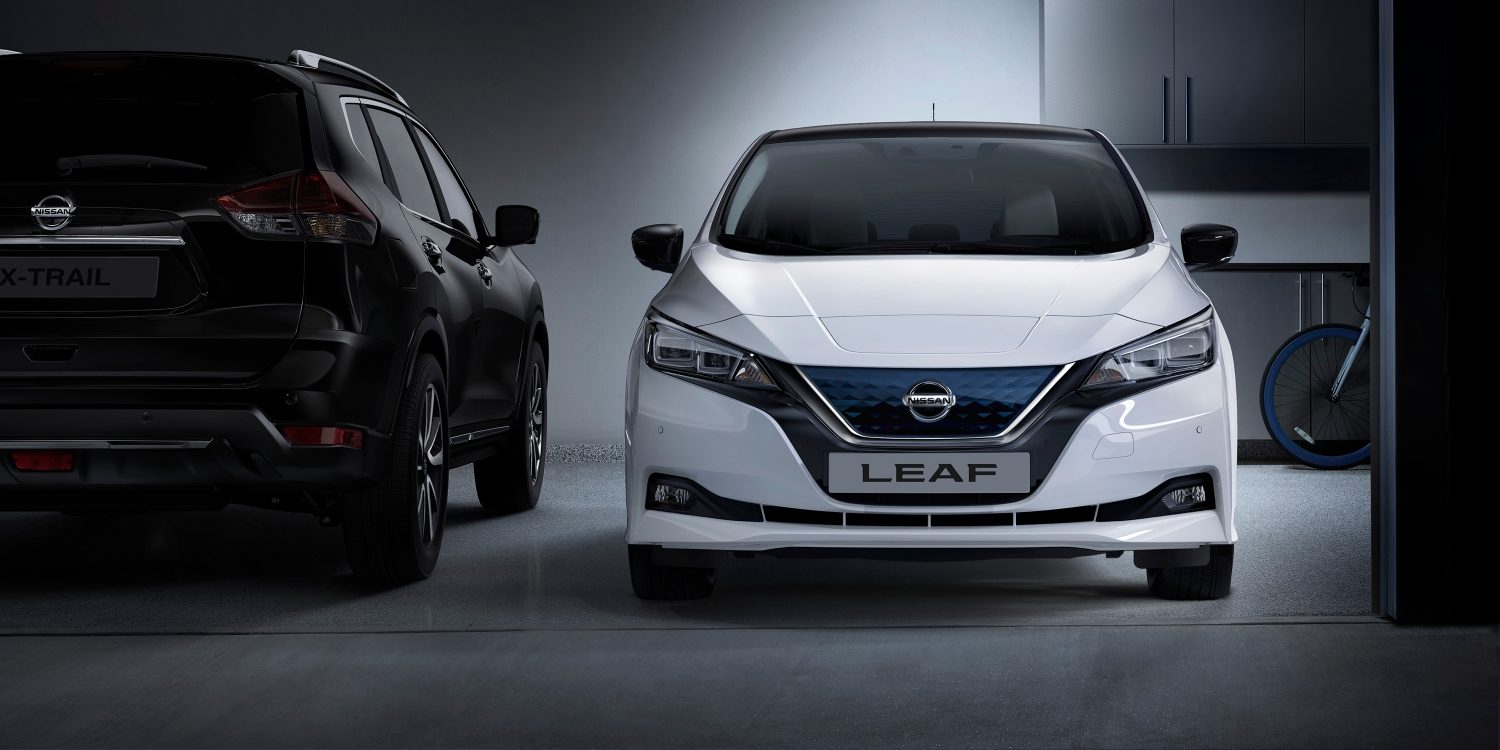 Nissan LEAF in a garage