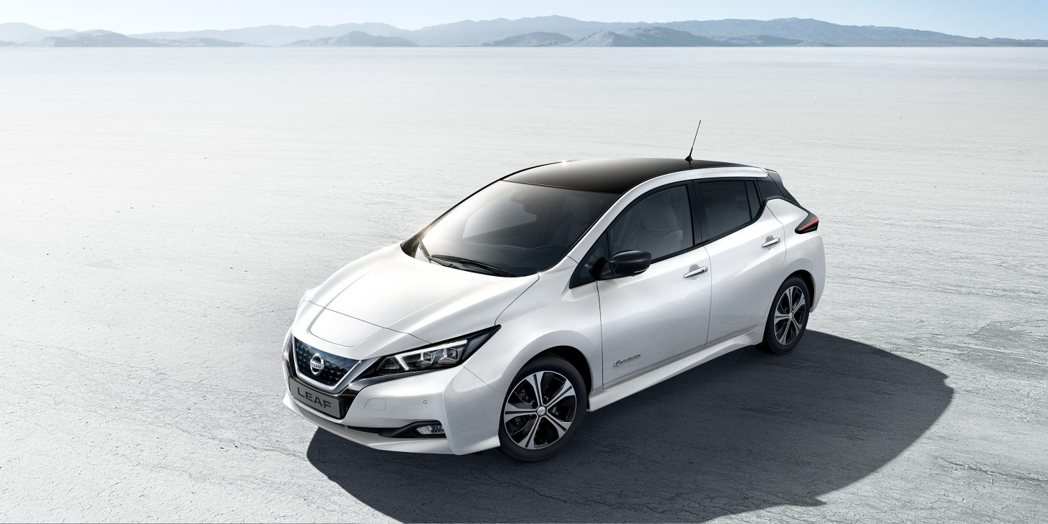 New Nissan LEAF shown from above in the desert