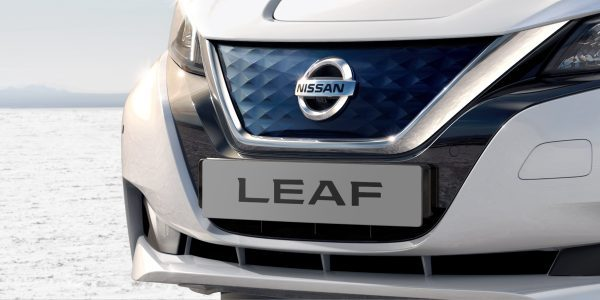 New Nissan LEAF showing redesigned V-Motion grille
