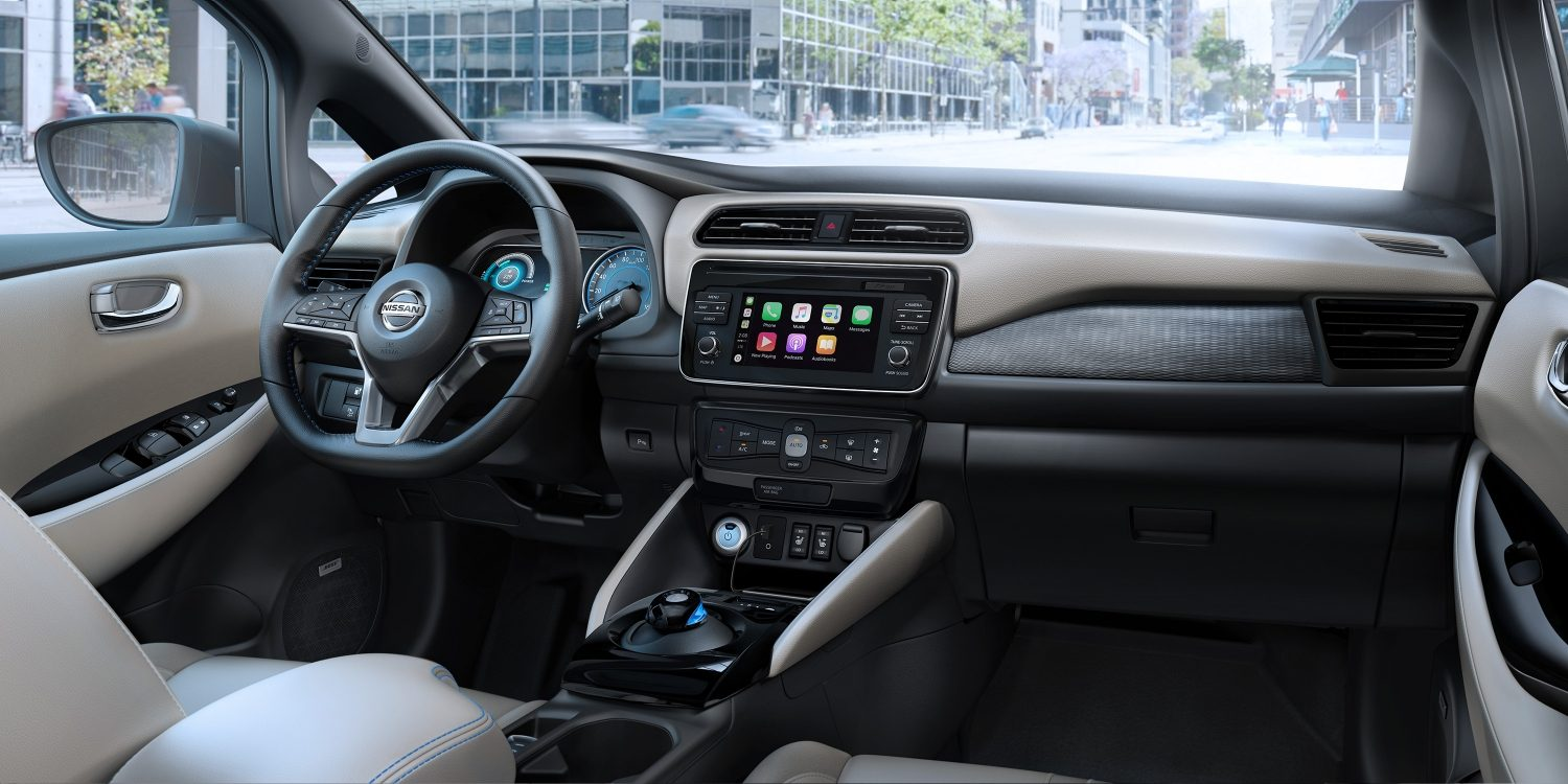 Nissan LEAF interior showing redesigned dash
