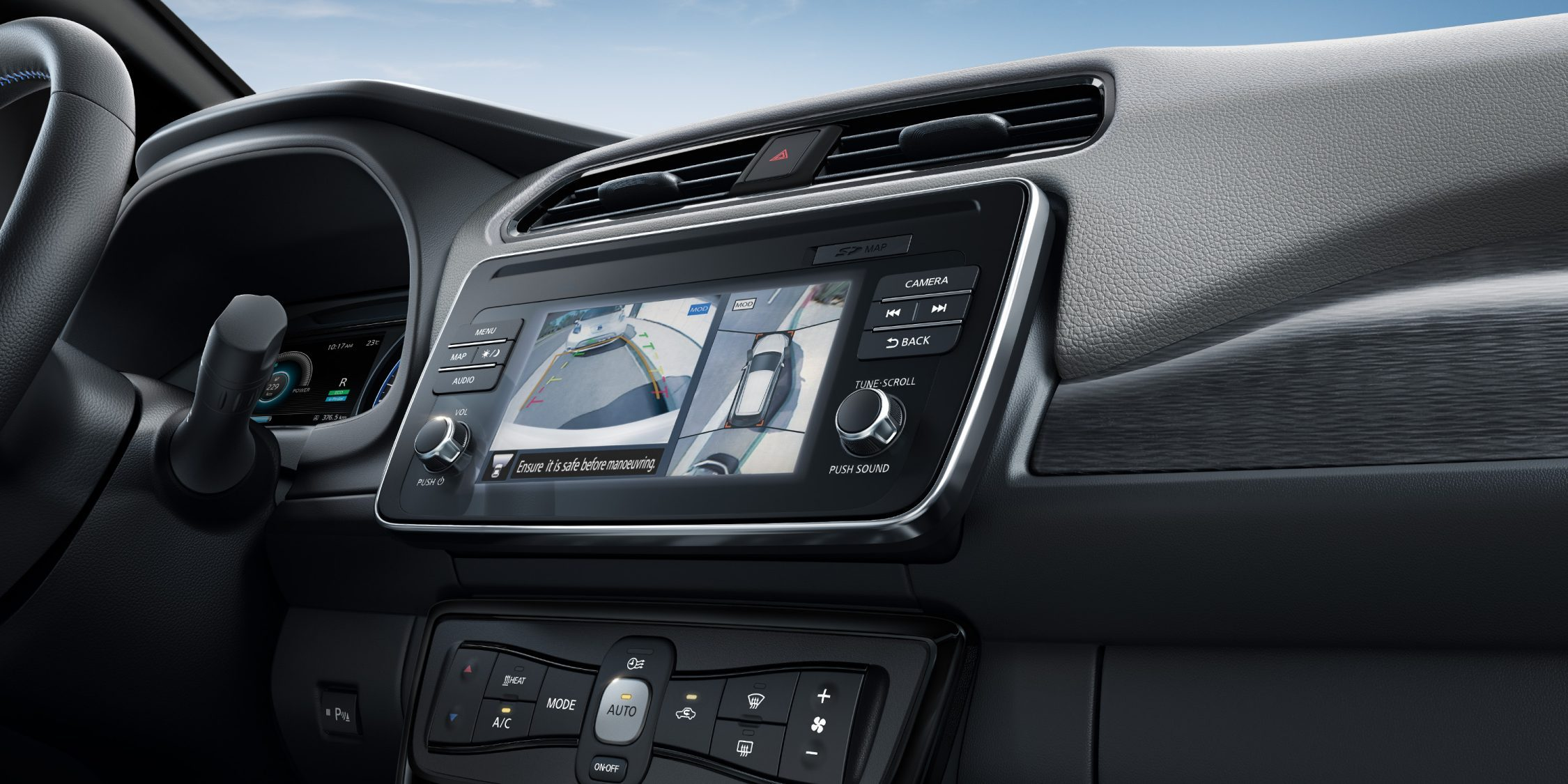 New Nissan LEAF interior showing around view monitor