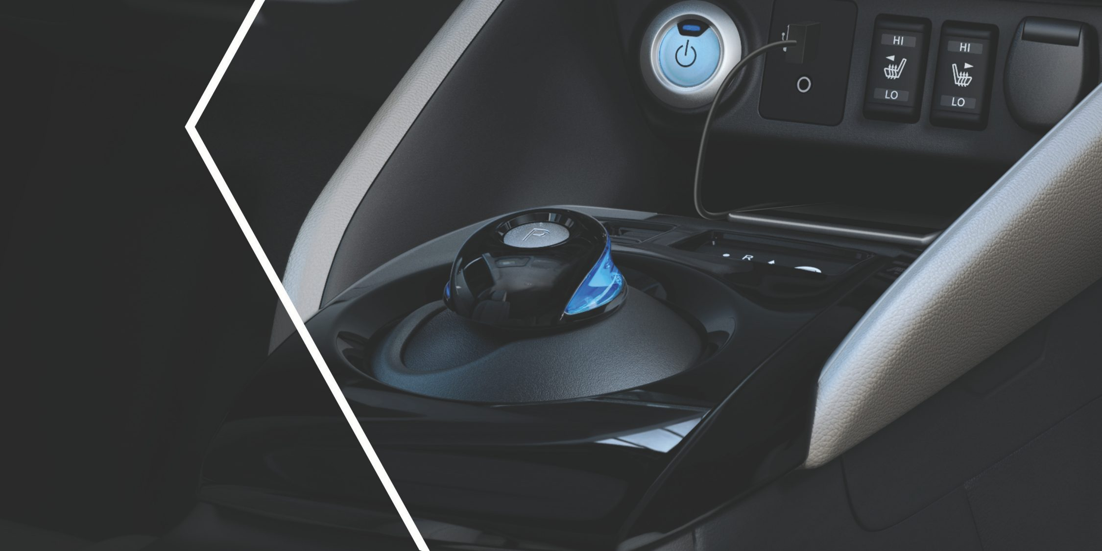 Nissan LEAF blue accents on drive selector